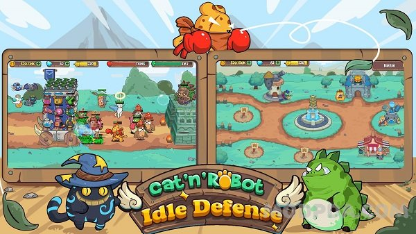 Download Cat'n'Robot: Idle Defense HACK/MOD Money for Android